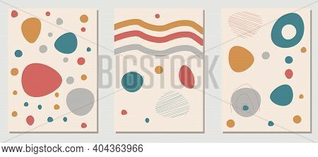Abstract Hand Painted Wall Arts Vector Collection. Trendy Set. Hand Drawn Organic Shape. Earth Tones
