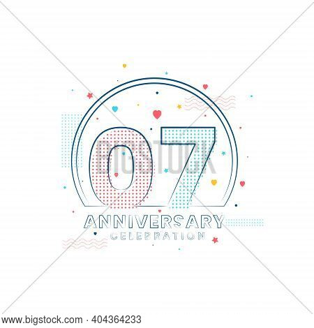 7 Years Anniversary Celebration, Modern 7 Anniversary Design Vector Illustration