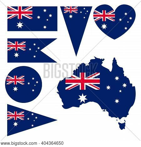 Australian National Flag And Map. Collection With Governmental Signs. Red, White, Blue. 26 Of Januar