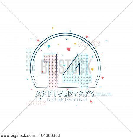 14 Years Anniversary Celebration, Modern 14 Anniversary Design Vector Illustration