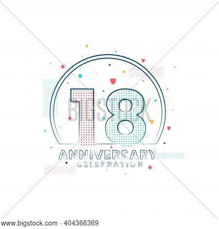 18 Years Anniversary Celebration, Modern 18 Anniversary Design Vector Illustration