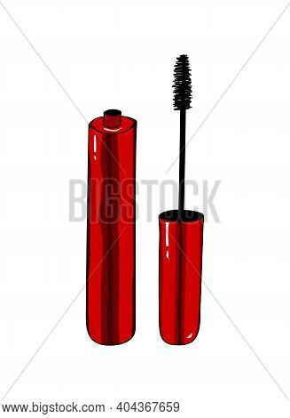 Red Tube Of Mascara And Brush With Black Mascara. Fashion Red Design Element On A White Background.