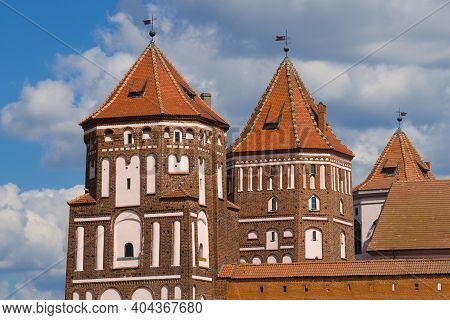 Towers Of The Mir Castle Close-up On A Sunny Day. Mir, Belarus