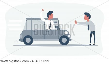 Car Driver Emergency Brakes In Front Of Pedestrian On Road. Pedestrian Crosses The Road In The Wrong