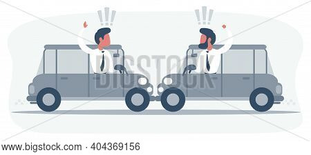 Conflict Between Two Drivers On Cars, No One Wants To Give Way To Each Other. Men Argue And Swear, F