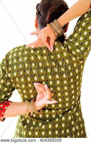 Woman Indian Dance In National Dress, Close Up. A Beautiful Girl Portrait In Shree Kurta Patiala Set