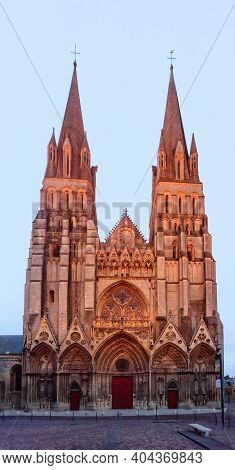The Facade Of The Bayeux Cathedral, Also Known As Cathedral Of Our Lady Of Bayeux, In Normandy, Fran