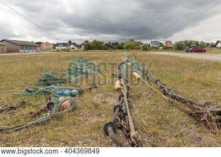 Bonnerup, Denmark - 15 Juli 2020: Equipment For A Fishing Cutter, Equipment For Fishing From A Fishi