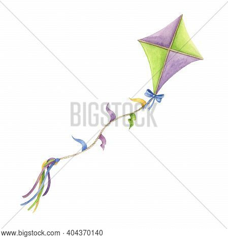 Bright Kite Watercolor Illustration. Hand Drawn Flying Toy For Outdoor Activity Element. Colorful Si