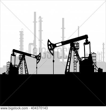 Black Oil Pump Jack Silhouette And Factory View. Petroleum Industry. Vector Template For Web, Infogr