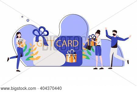 Customers Getting Gift Card. Cheerful People Happy About Discount Card, Coupon Or Voucher. Vector Il