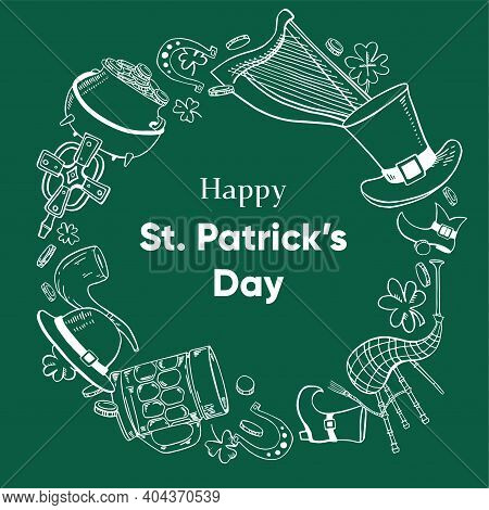 Saint Patrick's Day Round Frame Template. Traditional Objects - Hat, Harp, Shamrock, Beer, Bagpipes,