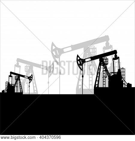Black Oil Pumpjack Silhouette On White Background. Petroleum Industry. Vector Template For Web, Info