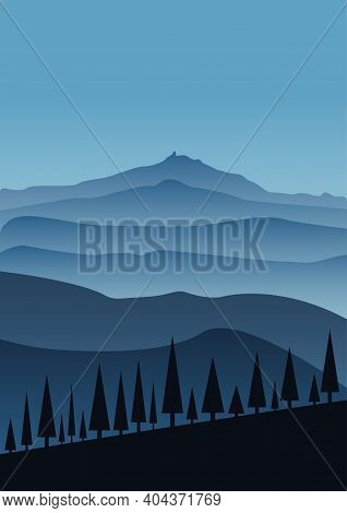 Monochrome Foggy Landscape With Silhouettes Of Mountains And Fir Trees. Gradients In Shades Of Blue.