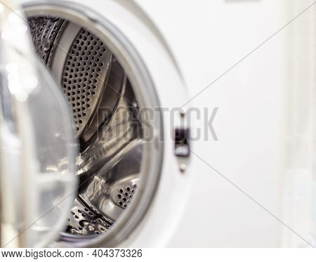 Drum Of Washing Machine Dry And Clean Close-up.washing Dryer Machine Inside View Of A Drum.