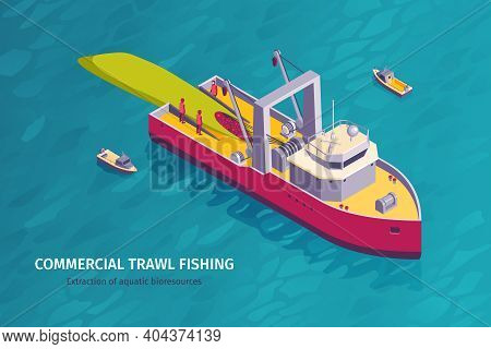 Isometric Commercial Fishing Horizontal Banner With Open Sea Background And Trawl Boat With Members