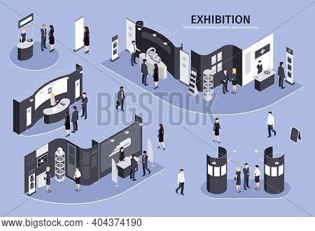 People Visiting Exhibition On Theme Technological Developments And Innovations Isometric Vector Illu