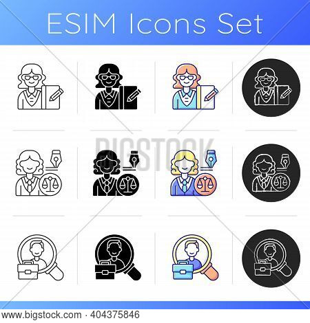 Corporate Hierarchy Icons Set. Secretary. Law Department. Human Resource. Office Work. Dealing With