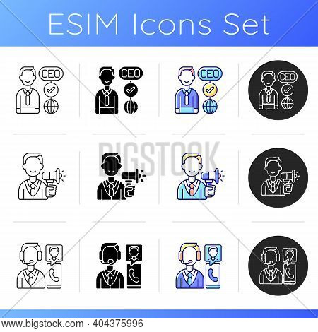 Company Hierarchical Structure Icons Set. Ceo. Creating, Handling Ads. Customer Service Department.