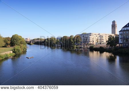 Muelheim An Der Ruhr City In Germany. Cityscape With River Ruhr.