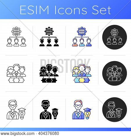 Hierarchical Org Structure Icons Set. Services From Foreign Supplier. Coaching In Business Environme