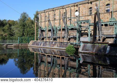 Muelheim An Der Ruhr City In Germany. Hydroelectric Power Plant On River Ruhr.