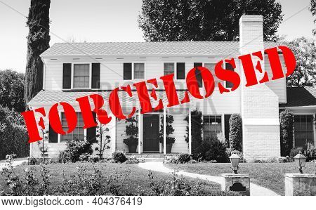 Beautiful All American Home Pictured In Black And White With Words Stenciled In Foreclosed - Concept