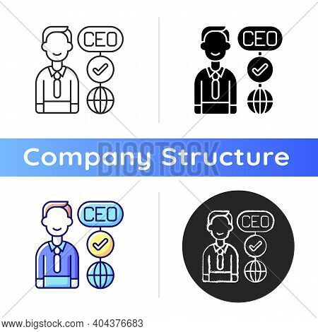 Ceo Icon. Chief Executive Officer. Highest-ranking Person In Company. Guiding Employees. Taking Mana