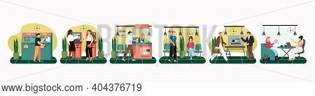Vector Set Of Scenes With People In Bank. Public And Private Banking Concept. Customers Visit Bank T