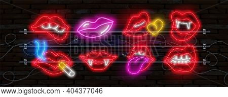 Big Neon Set Of Romantic Kiss, Kissing Couple Lip Bar. Vector Set Of Realistic Isolated Neon Erotic
