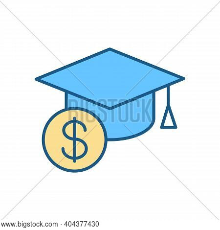 Tuition Cost Rgb Color Icon. Scholarship Budget. Money For Education. Price For Education. Student L
