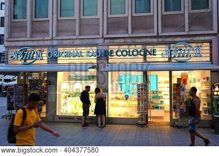 Cologne, Germany - September 21, 2020: Eau De Cologne Store In Germany. Original Eau De Cologne (no