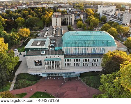 Essen, Germany - September 20, 2020: City View With Philharmonic Concert Hall (saalbau) Essen, Germa