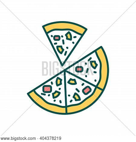Delicious Pizza Rgb Color Icon. Dinner Take Out Delivery. Dish With Vegetables And Meat. Restaurant
