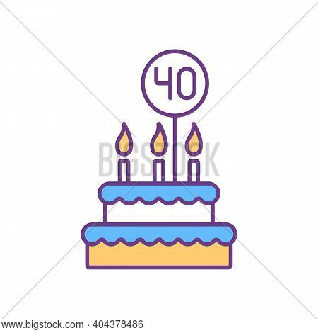 40 Birthday Cake Rgb Color Icon. Fourty Years Anniversary Celebration. Festive Cake With Candles, Ic