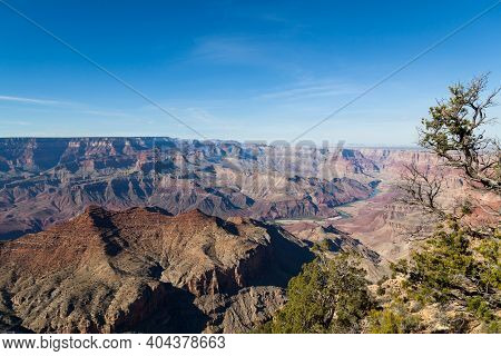 Looking From The Desert View Watchtower Into The Colorful Landscape Of The Grand Canyon And The Colo