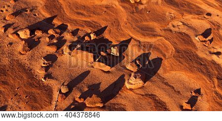 Late Afternoon Sunshine Creating Long Shadows On Small Pebbles Resting Upon Eroding Sandstone Rocks