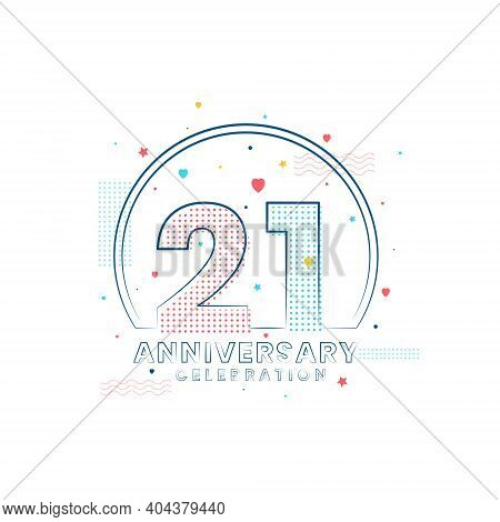 21 Years Anniversary Celebration, Modern 21 Anniversary Design Vector Illustration