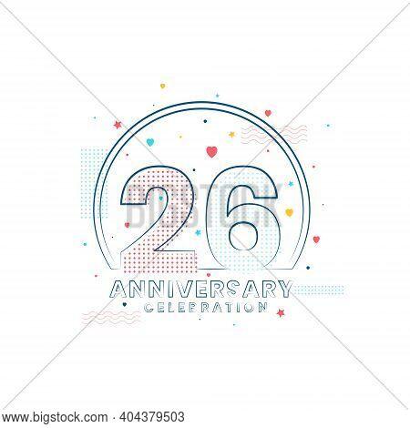 26 Years Anniversary Celebration, Modern 26 Anniversary Design Vector Illustration