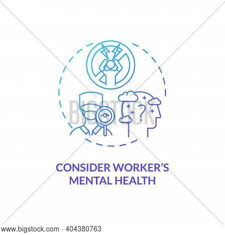 Considering Worker Mental Health Concept Icon. Staff Reboarding Idea Thin Line Illustration. Promoti