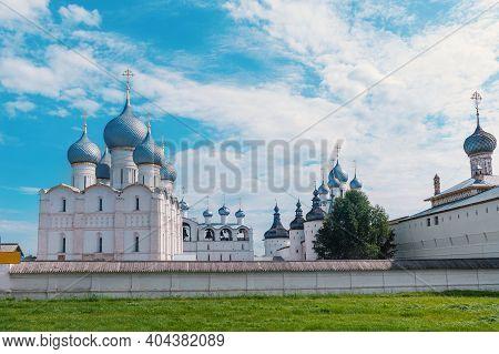 Golden Ring Of Russia.the Kremlin Wall Of The Ancient Rostov Kremlin.