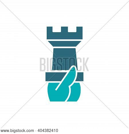 Hand Holds A Rook Chess Colored Icon. Board Game, Table Entertainment Symbol