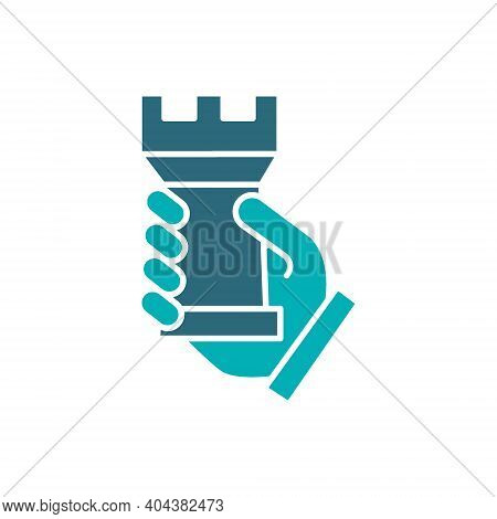 Human Holding Rook Chess Colored Icon. Board Game, Table Entertainment Symbol