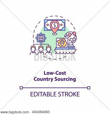 Low-cost Country Sourcing Concept Icon. Cost Reduction Strategy Idea Thin Line Illustration. Product