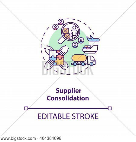 Supplier Consolidation Concept Icon. Product Quality Improvement Idea Thin Line Illustration. Cost R