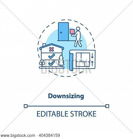 Downsizing Concept Icon. Manufacture Improvement Idea Thin Line Illustration. Cost Reduction. Compan