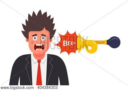 The Man Was Frightened By The Unexpected Sound. Scare A Person With A Loud Beep. Flat Vector Charact