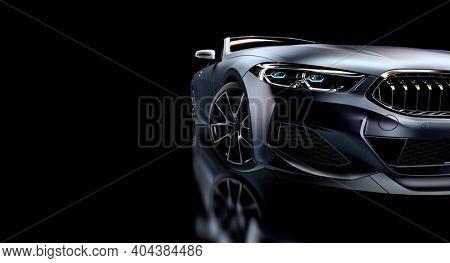 gray sports car on black background. 3d render.
