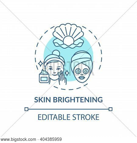 Skin Brightening Concept Icon. Face Mask Effect Idea Thin Line Illustration. Fading Dark Spots And A