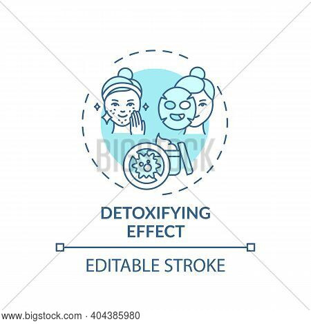 Detoxifying Effect Concept Icon. Face Mask Idea Thin Line Illustration. Keeping Pores Clean, Tight.